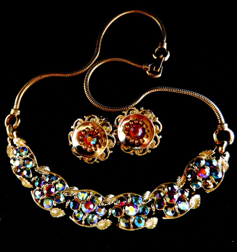 78e5c0f5d9f59 1950 signed BSK copyright Necklace & Earrings Set -Red Siam AB Crystals and  peacock -Perfect Vintage quality-Party Nights--Art.816/2 -