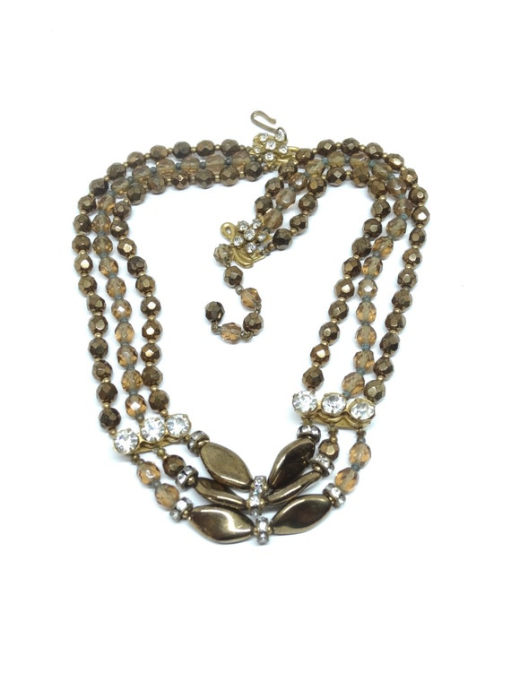Three strands glass beads Bronze/Brown/Maroon  col