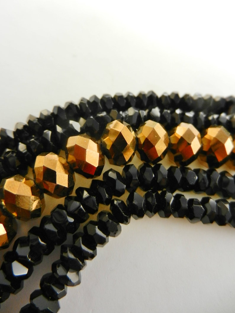Art.1134- Dazzling 1970s Five Strands black Crystals and tobacco sparkle Bracelet enamelled with Rivoli crystal Clasp