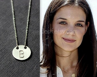 Initial Disc Silver Necklace - Celebrity Style - Sterling Silver, Choose your Initial