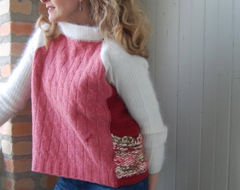 RESERVED FOR KERRY. Valentine Sweater: Ella pullover for women made from recycled knits, xsmall, rose, red, cream felted wool and angora