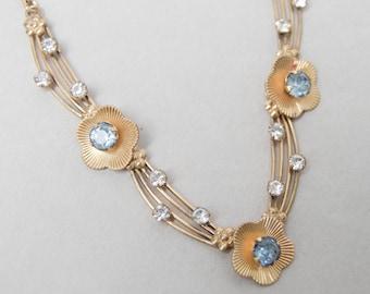 Vintage Van Dell  Rhinestone Necklace . Gold Filled . Blue & Clear Rhinestones . Beautiful