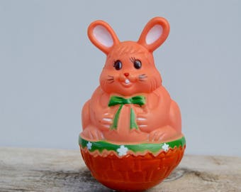 Vintage Hard Plastic Bunny . Easter Decor. Moves . Rolly . 1960s/Easter Collectible