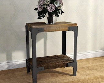 BRAND NEW 2021  End Table Distressed Rustic Finish Wooden Frame w/Antiqued Metal Painting