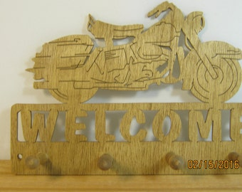 MOTORCYCLE WELCOME KEY Rack  Scroll Saw Plaque