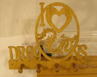 I LOVE DRAGONS  Key Rack Scroll Saw Plaque