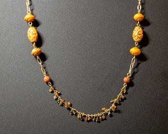 Semi-Precious Gemstone and Clay Necklace