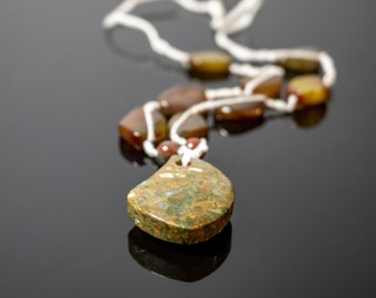 Hand-knotted Agate, Moss Agate, and Prehnite Necklace