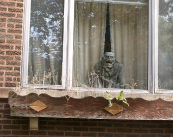 Chicago Photo, Halloween photography, Halloween art, zombie, Frankenstein, window decor, vintage, brick, apartment, brown, rust