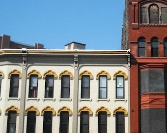 Grand Rapids, photography, architecture, downtown, photo, vintage windows, yellow, pediments, brick, rust, industrial, city, Michigan