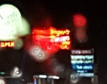 Wenger's Bowling rainy night, Grand Rapids photo, Grand Rapids art, photography, neon signs, rain, Michigan, fine art, print, wall art