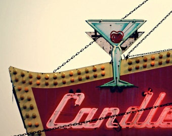 Chicago Photography, Chicago sign photo, mid-century neon, Chicago Art print, Rogers Park, arrow, cocktail, cherry red, Rockabilly, retro