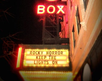 Chicago Photography, Rocky Horror, Music Box Theatre, Halloween, movies, Southport, Wrigleyville, vintage neon sign, marquee, cult classic