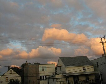 chicago photo, Logan Square, chicago photography, chicago art, sunset, pastels, Americana, street photography, vintage home, powerlines
