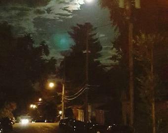 night photo, Lyon Street, Grand Rapids, Michigan, harvest moon, Midtown, night photography, autumn, hill, Realism, earth tones, streetlights