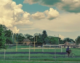 Briggs Park, Grand Rapids photo, Grand Rapids art, Grand Rapids photography, city parks, bicycles, riding bikes, clouds, track, blues, green