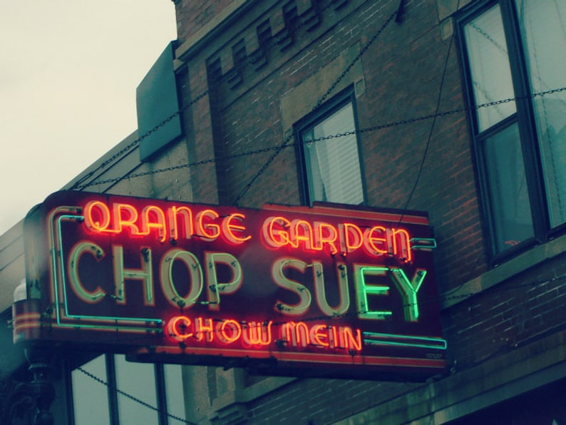 Chicago Photography, Lincoln Square, North Center, Chop Suey, vintage neon  sign, Art Deco, red, restaurant, Chinese food, 5x7 print