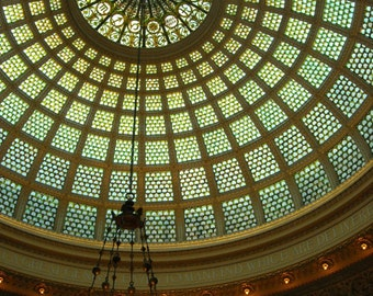 Chicago Photo, Chicago Cultural Center,  Chicago Photography, Tiffany Dome, vintage Tiffany Chandelier, architecture, art, green, zodiac