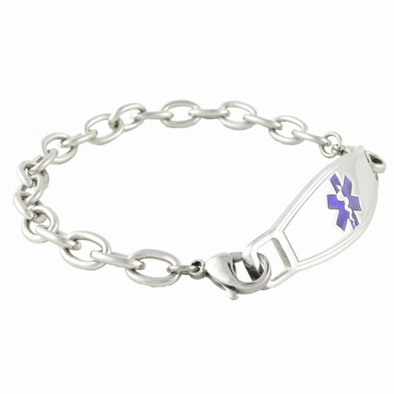 Medical Alert Bracelet Women Medical Alert Jewelry Women Lightweight Stainless Steel Custom Laser Engraved ~ Cable Link