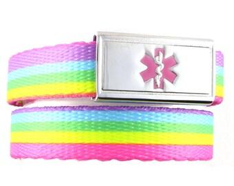 Medical Bracelet For Kids - Medical Alert Bracelet Kids - Diabetes Bracelet Kid - FREE Custom Engraving - Medical ID Bracelet Kids - Rainbow