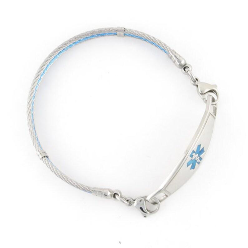 Medical ID Bracelet Interchangeable Medic Alert Bracelet -Unisex -Replacement Bracelet -OCEAN Stainless Steel Triple Cable Bracelet