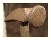 Antique Shoe Cobbler Hammer, Beautifully Rusted Head and Worn Wooden Handle