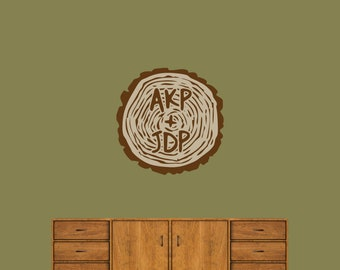 Custom Carved Tree Trunk - Printed Trees and Branches Flowers Personalized Wedding Wall Decals