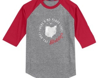 There's No Place Like Ohio Holiday Youth 3/4 Length Sleeve Raglan Christmas T-Shirt