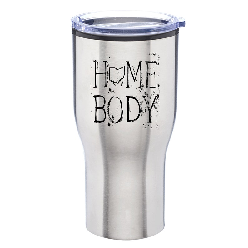 Stainless Steel Tumbler with Lid Ohio Homebody Engraved 28 oz