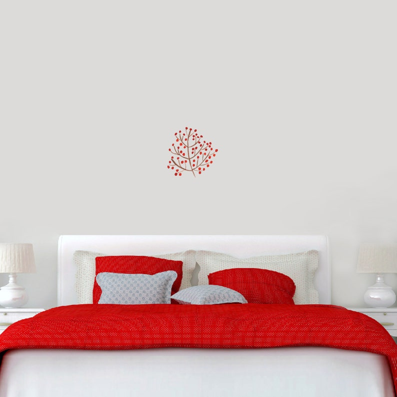 Red Berry Branch Wall Decal  Printed Flowers Trees and Branches  Wall Accents  Vinyl Removable Wall Art Decals Stickers