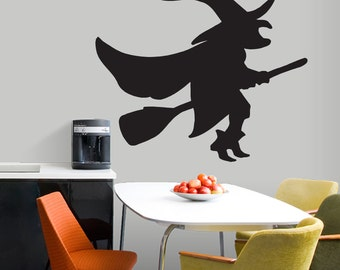 Witch On A Broom -Seasonal Halloween Wall Decals