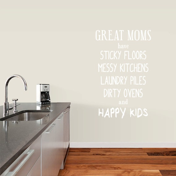 Messy Kitchen Is A Happy Funny Dining Room Quote Wall Art