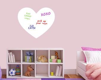 Dry Erase Heart - Dry Erase Office Kids Room Kitchen Wall Decals