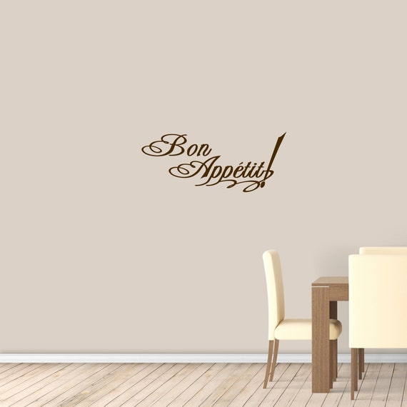 Bon Appetit Kitchen Wall Decal, Dining Room Decor, Food Quotes Wall Decor,  Kitchen Wall Stickers