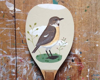 Hand painted vintage table tennis bat - a stonechat