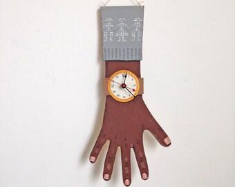 OOAK -- hand painted wooden clock wearing grey sweater