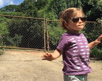 44 Sharks Organic Kids T Shirt Purple