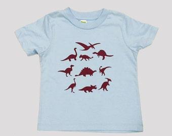 Dinosaurs Kids Organic T Shirt Blue