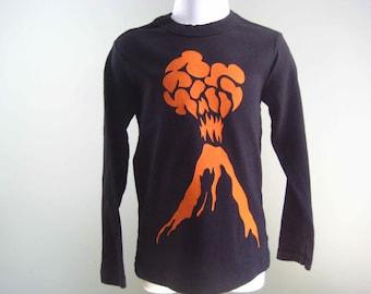 Volcano Kids Long Sleeve T Shirt Bright Orange on Black