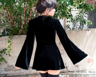 Black Velvet Witchy Dress - Witch Minidress -  Extra Small Medium Large Plus Custom - Sixties Mod Goth Dress - XXS XS S M L XL 2XL 3XL 4XL