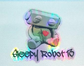 "Sleepy Robot 13  3"" Holographic Sticker"