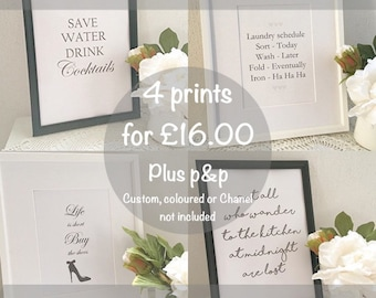 Offer 4 x A4 Prints in black and white, mix and match