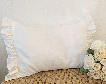 White Ruffle Edge Oblong Cushion In Linen And Cotton
