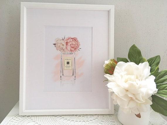 Jo Malone inspired print, pink peonies, perfume print, bedroom decor