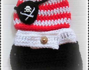 Pirate beanie and diaper cover set, Baby Pirate photo prop, Skull and Crossbones Beanie and Diaper Cover