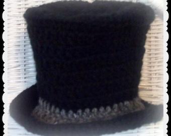 Baby Top Hat in crochet, Victorian Photo prop, Christmas Photo prop, Snowman photo prop, New Year's photo prop