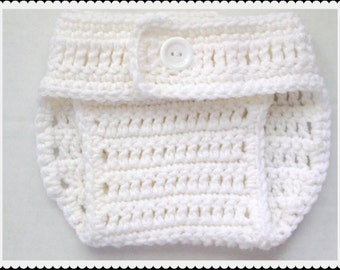 Crocheted Diaper cover, White Nappy cover, Photo prop