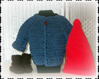 Garden Gnome Halloween Costume, Sweater Set or Photo Prop for Baby in Crochet, baby's First Halloween