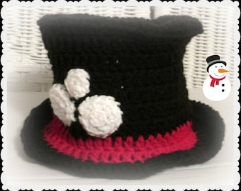 Baby Snowman Hat in crochet, Snowman photo prop, New Year's photo prop