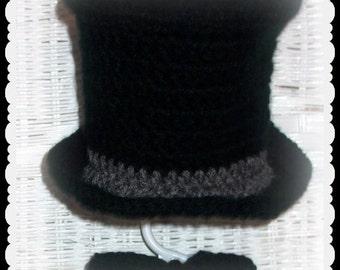 Baby Top Hat and Bow Tie in crochet, Victorian Photo prop